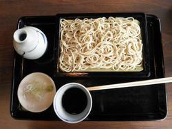 江戸前の名店(神田藪そば)の味を十分に味わえるそば-つけ汁が辛く、青い色をした細打ちのそば